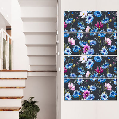 Designart Multi Color Corn Flowers Floral Art Canvas Print -4 Panels