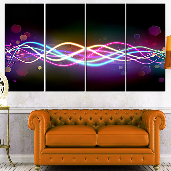 Designart Multi Colored Tangled Lines Abstract Canvas Art Print - 4 Panels
