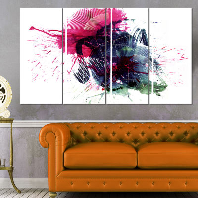 Multicolor Abstract Stain Abstract Canvas Art Print - 4 Panels