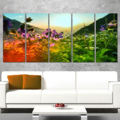 Designart Multicolor Mountains Meadow View FloralWrapped Canvas Art Print - 5 Panels
