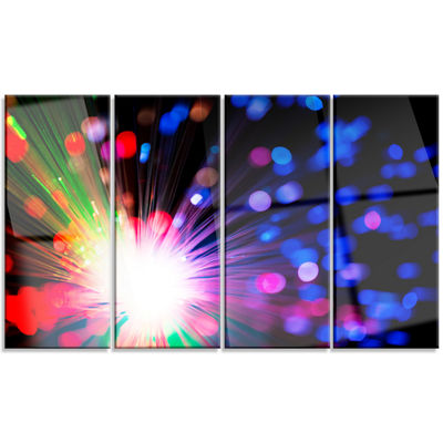 Designart Multicolor Optical Fiber Lighting LargeAbstract Canvas Wall Art - 4 Panels