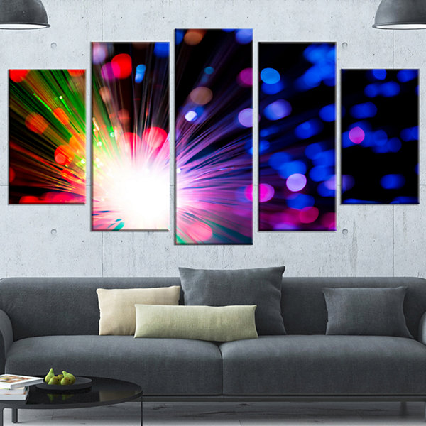 Designart Multicolor Optical Fiber Lighting LargeAbstract Canvas Wall Art - 5 Panels