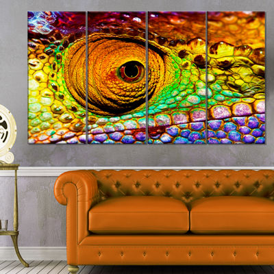 Designart Multicolor Scaly Skin of Lizard AbstractCanvas Art Print - 4 Panels