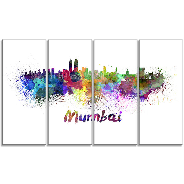 Designart Mumbai Skyline Cityscape Canvas ArtworkPrint - 4Panels