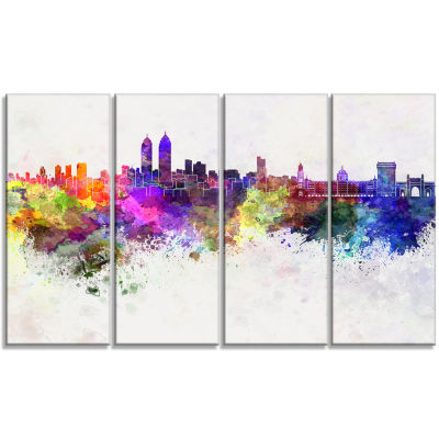 Mumbai Skyline Cityscape Canvas Wall Art Print - 4Panels