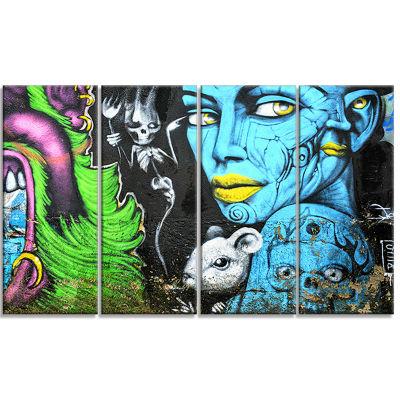 Designart Mural Wall Art Street Art Canvas Art Print - 4 Panels