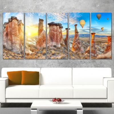 Designart Mushrooms Landscape Photography Canvas Art Print -5 Panels
