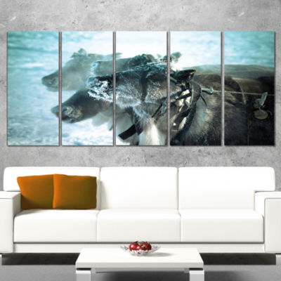 Designart Muzzle Reindeer in Frost Oversized Animal Wall Art- 5 Panels