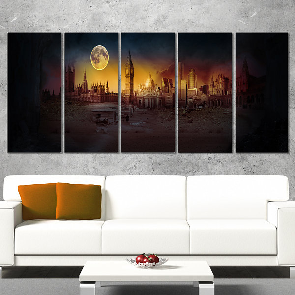 Designart Mysterious Apocalyptic City Landscape Canvas Art Print - 4 Panels
