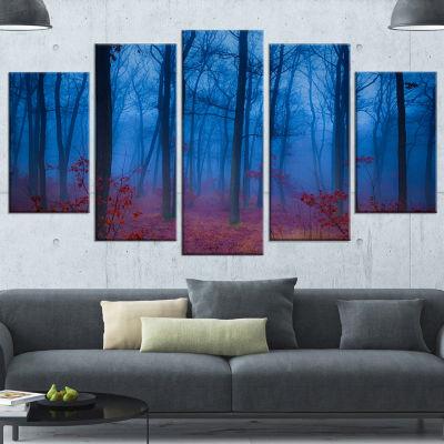 Designart Mysterious Blue Thick Woods Modern Forest WrappedCanvas Art - 5 Panels