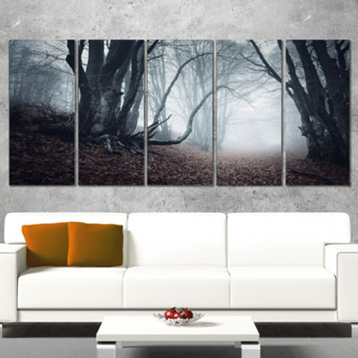 Designart Mysterious Fairytale Foggy Wood Landscape Photography Canvas Print - 4 Panels