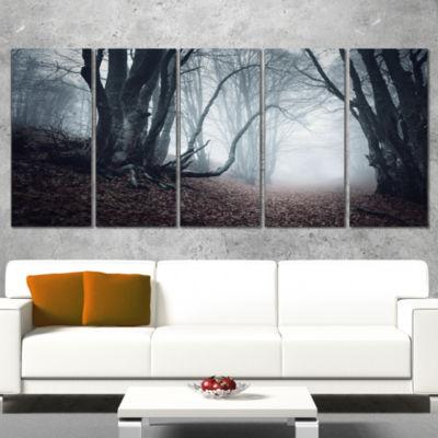 Designart Mysterious Fairytale Foggy Wood Landscape Photography Canvas Print - 5 Panels