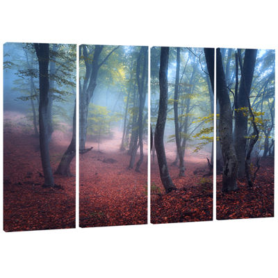 Designart Mysterious Fairytale Green Wood Landscape Photography Canvas Print - 4 Panels