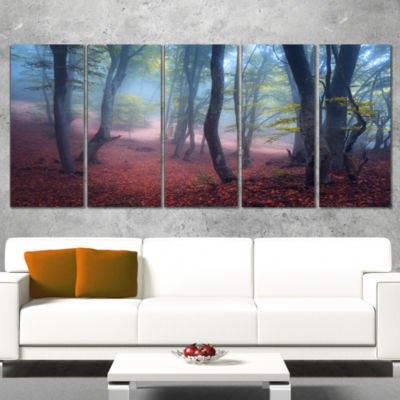 Designart Mysterious Fairytale Green Wood Landscape Photography Canvas Print - 5 Panels