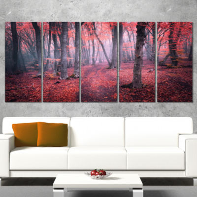 Designart Mysterious Fairytale Red Wood LandscapePhotography Canvas Print - 4 Panels