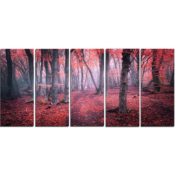 Designart Mysterious Fairytale Red Wood LandscapePhotography Canvas Print - 5 Panels