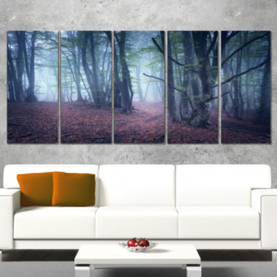 Designart Mysterious Fairytale Wood Landscape Photography Canvas Print - 4 Panels