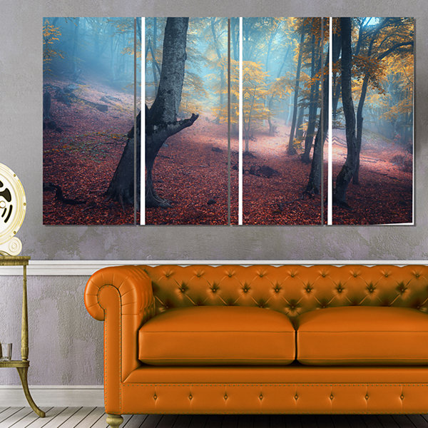 Designart Mysterious Fairytale Yellow Wood Landscape Photography Canvas Print - 4 Panels