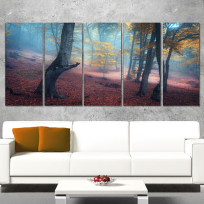 Designart Mysterious Fairytale Yellow Wood Landscape Photography Canvas Print - 5 Panels