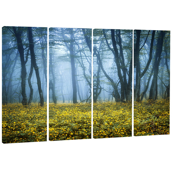 Designart Mysterious Forest Fog Everywhere Landscape Photography Canvas Print - 4 Panels