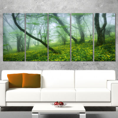 Mysterious Forest Green Leaves Landscape Photography Canvas Print - 4 Panels