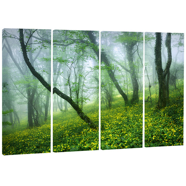 Designart Mysterious Forest Green Leaves LandscapePhotography Canvas Print - 4 Panels