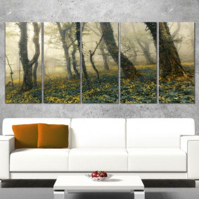 Designart Mysterious Forest in Fog Landscape PhotoCanvas Art Print - 5 Panels