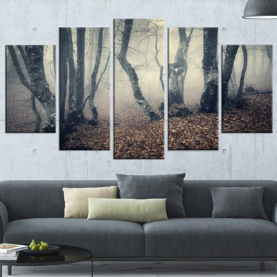Designart Mystical Yellow Fog in Fall Forest Landscape Photography Wrapped Canvas Print - 5 Panels