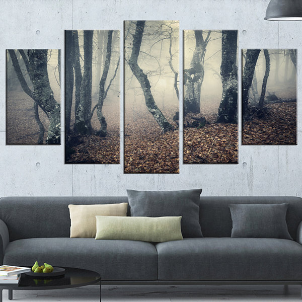 Designart Mystical Yellow Fog in Fall Forest Landscape Photography Canvas Print - 5 Panels