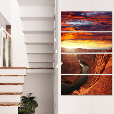 Designart Namib Desert With Cracked Land Extra Large Landscape Canvas Art - 4 Panels