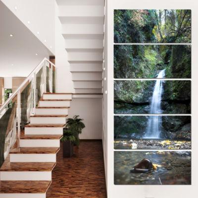Designart Nanayo Waterfall Japan Landscape Photo Canvas ArtPrint - 4 Panels