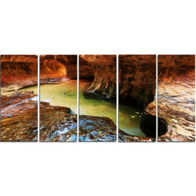 Narrows in Zion National Park Utah Landscape Canvas Art Print - 5 Panels