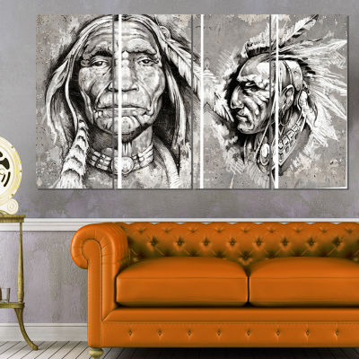 Designart Native American indian Heads Abstract Portrait Canvas Print - 4 Panels