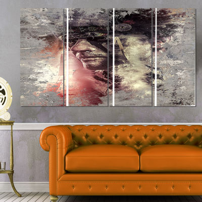 Designart Native American indian Warrior AbstractPortrait Canvas Print - 4 Panels