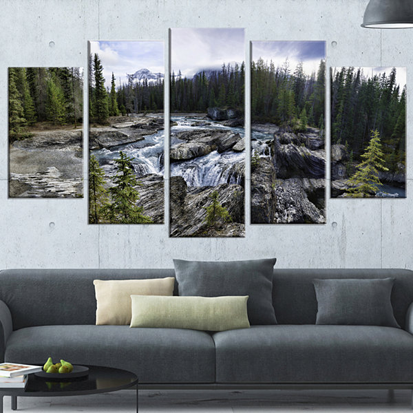 Designart Natural Bridge in Yoho Landscape Art Print Canvas- 4 Panels