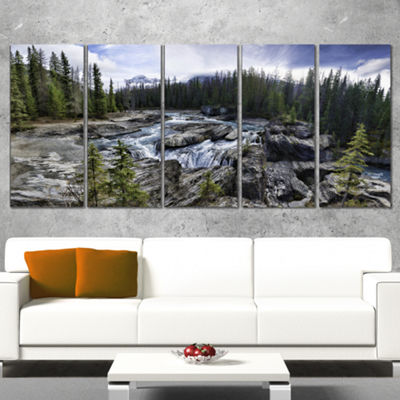 Designart Natural Bridge in Yoho Landscape Art Print Canvas- 5 Panels