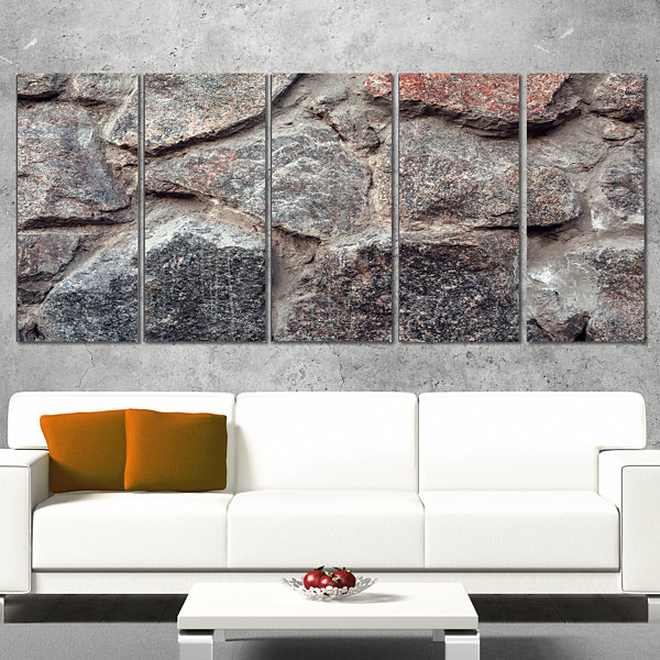 Designart Natural Granite Stone Texture LandscapePhotography Canvas Print - 4 Panels