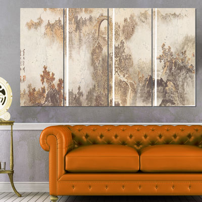 Designart Nature in Vintage Style Landscape Photography Canvas Print - 4 Panels