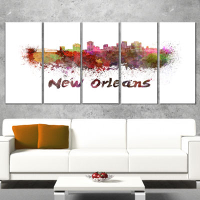 Designart New Orleans Skyline Cityscape Canvas Artwork Print- 5 Panels