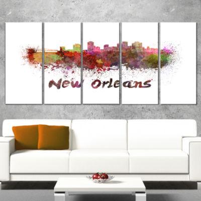 Designart New Orleans Skyline Large Cityscape Canvas ArtworkPrint - 5 Panels