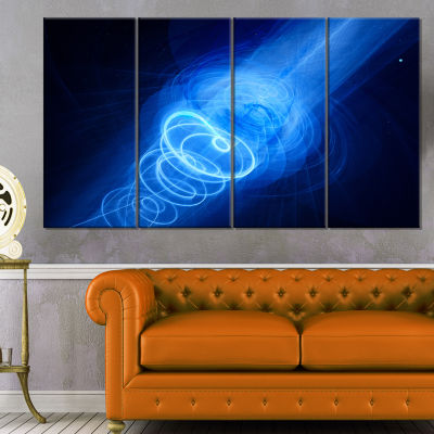 New Plasma Weapon in Space Large Abstract Canvas Wall Art - 4 Panels