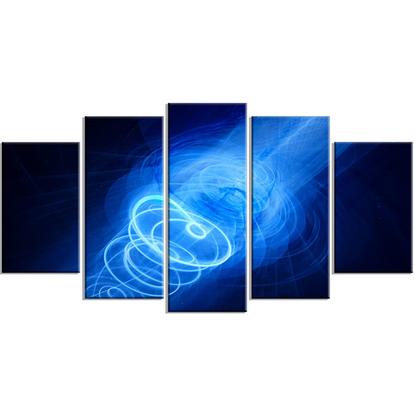 Designart New Plasma Weapon in Space Large Abstract WrappedCanvas Wrapped Art - 5 Panels