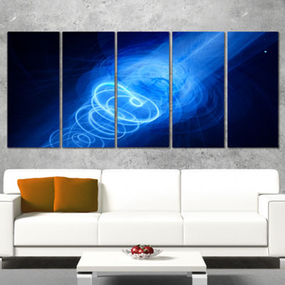Designart New Plasma Weapon in Space Large Abstract Canvas Wall Art - 5 Panels
