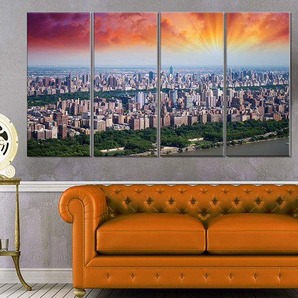 Designart New York Beautiful Manhattan Skyline Cityscape Canvas Print - 4 Panels