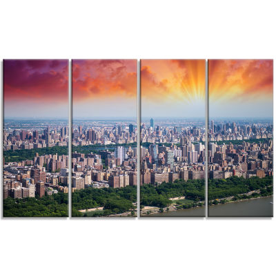 New York Beautiful Manhattan Skyline Cityscape Canvas Print - 4 Panels