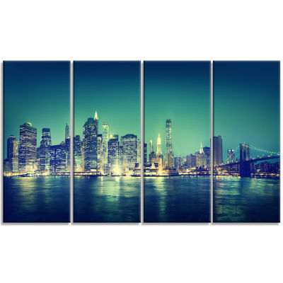 New York City Panorama Night Concept Cityscape Canvas Print - 4 Panels