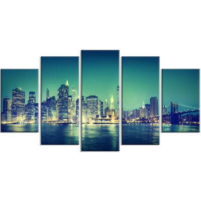 Designart New York City Panorama Night Concept Cityscape Wrapped Canvas Print - 5 Panels