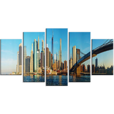 Designart New York City With Brooklyn Bridge Cityscape Wrapped Canvas Print - 5 Panels