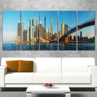 Designart New York City With Brooklyn Bridge Cityscape Canvas Print - 5 Panels