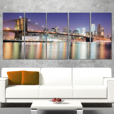 New York City With Freedom Tower Cityscape WrappedCanvas Print - 5 Panels